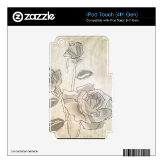 Vintage Line drawing Rose Decal For iPod Touch 4G