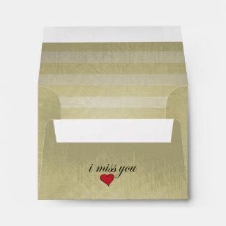 Vintage Lined Stripes | I Miss You Envelope