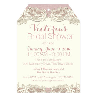 "Vintage Linen and Lace Bridal Shower 5"" X 7"" Invitation Card"
