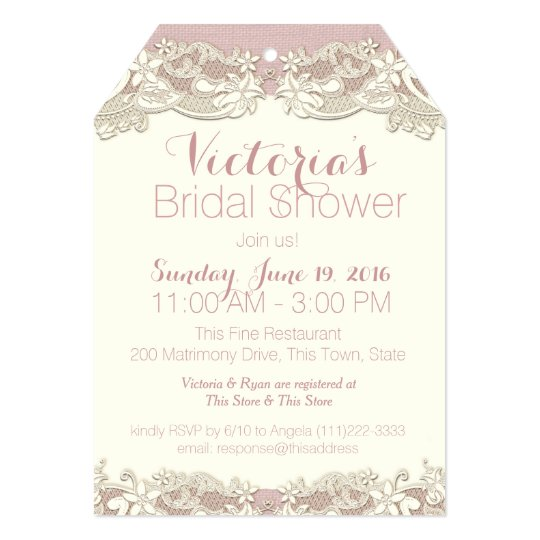 Vintage Linen And Lace Bridal Shower Invitation