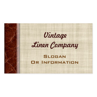 Vintage Linen And Leather Business Cards