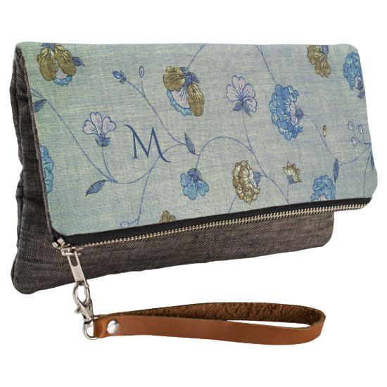 Vintage Linen Blue and Gold Flowers with Monogram Clutch