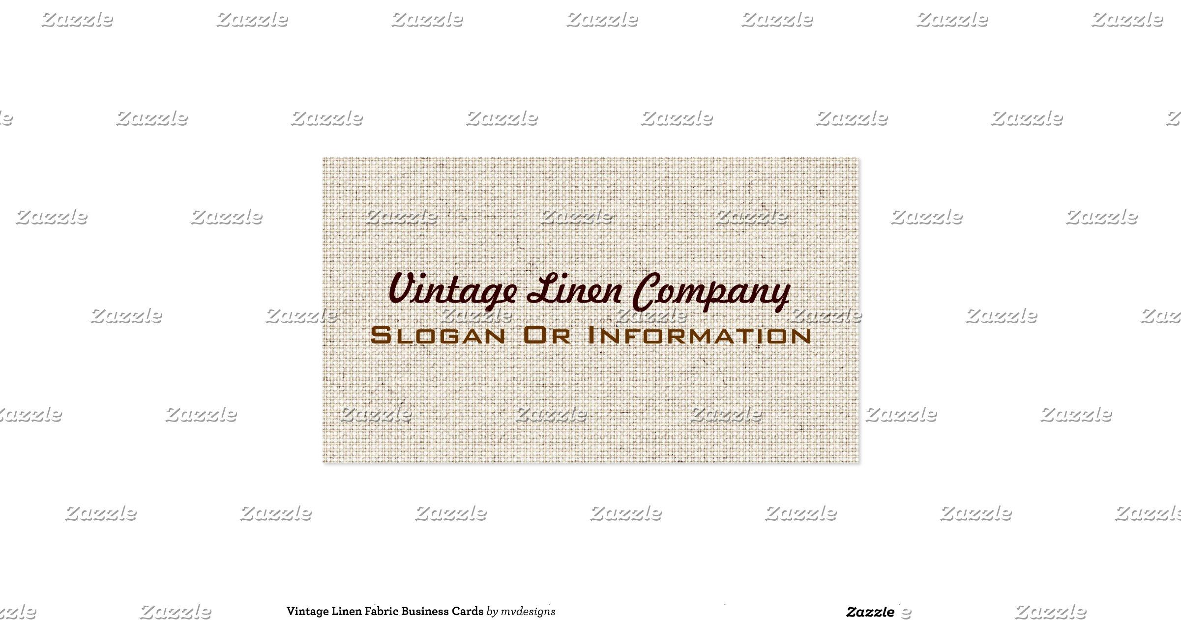 Vintage Linen Fabric Business Cards