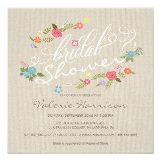 Vintage Linen Floral Wreath Bridal Shower Invites