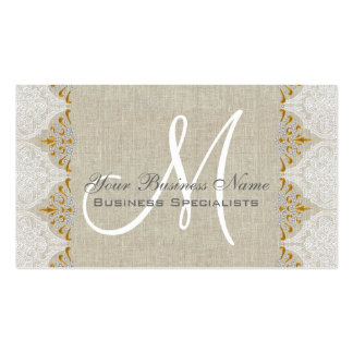 Vintage Linen Lace Gold Monogram Logo Double-Sided Standard Business Cards (Pack Of 100)