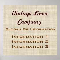 Vintage Linen Large Poster Sign