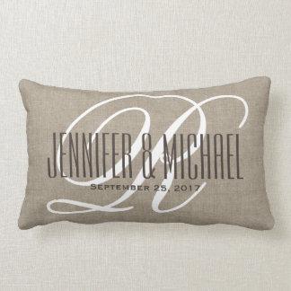 Vintage Linen Look with White Monogram Lumbar Pillow