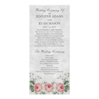Vintage Linen Rose   Wedding Program Custom Rack Cards