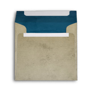 Vintage Linen with Blue Velvet Square Envelope