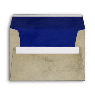 Vintage Linen with Deep Blue Velvet A7 Envelope