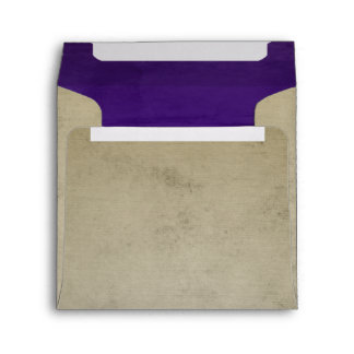 Vintage Linen with Deep Purple Square Envelope
