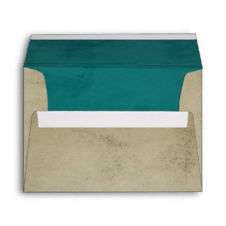 Vintage Linen with Turquoise Velvet A7 Envelope