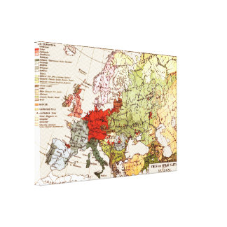 Vintage Linguistic Europe Map | Chevron Background Canvas Prints