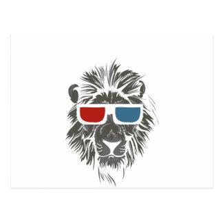 vintage lion design with color gases postcard