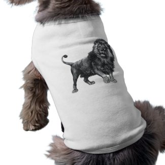 Vintage lion drawing, paw lifted looking left petshirt