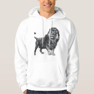 Vintage lion drawing, paw lifted looking left hoodie