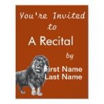 Vintage lion drawing, paw lifted looking left custom invitations