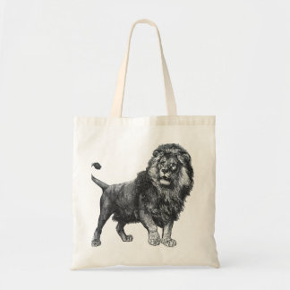 Vintage lion drawing, paw lifted looking left tote bag