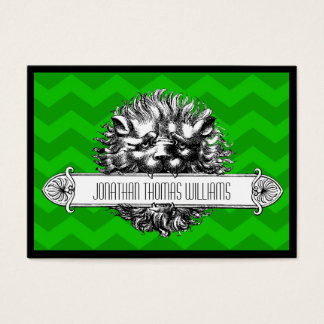 Vintage Lion & Green Chevron Modern Business Card