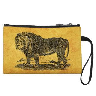 Vintage Lion Illustration -1800's African Animal Wristlet Wallet