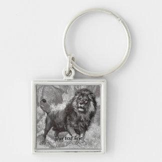 Vintage Lion Keyring Silver-Colored Square Keychain