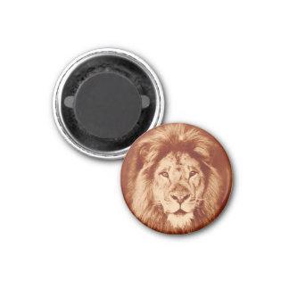Vintage Lion Maned Portrait Antique Big Cat Feline 1 Inch Round Magnet