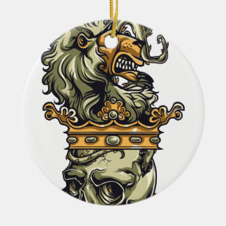vintage lion on dead skull ceramic ornament