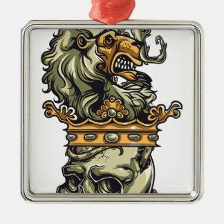 vintage lion on dead skull metal ornament