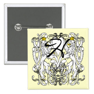 Vintage Lion Rampant White With Gold Crowns,Tongue 2 Inch Square Button