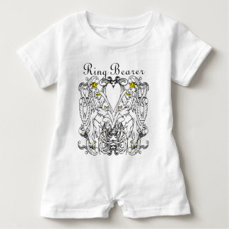 Vintage Lion Rampant White With Gold Crowns,Tongue Infant Romper
