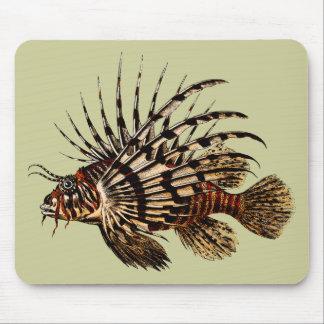 Vintage Lionfish Art Print Mouse Pad