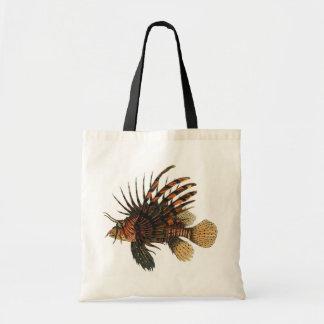 Vintage Lionfish Fish, Marine Ocean Life Animal Budget Tote Bag
