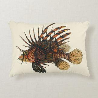 Vintage Lionfish Fish, Marine Ocean Life Animal Decorative Pillow