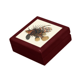 Vintage Lionfish Fish, Marine Ocean Life Animal Jewelry Box