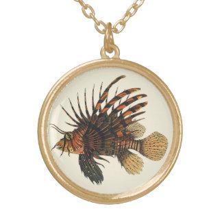 Vintage Lionfish Fish, Marine Ocean Life Animal Round Pendant Necklace