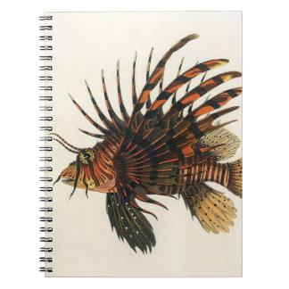 Vintage Lionfish Fish, Marine Ocean Life Animal Spiral Notebook