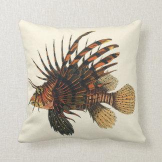 Vintage Lionfish Fish, Marine Ocean Life Animal Throw Pillow