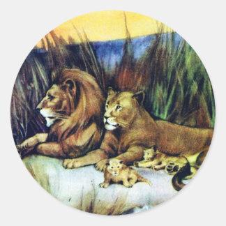 Vintage Lions Classic Round Sticker