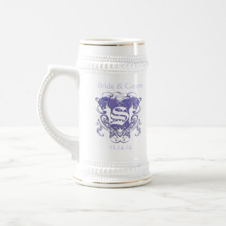Vintage Lions with Swirls 4 Heads and Circle Swirl 18 Oz Beer Stein