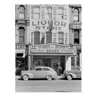Vintage liquor store photo postcard
