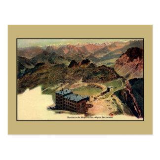 Vintage litho Bernese Alps, Rocks of Naye, Hotel Postcard