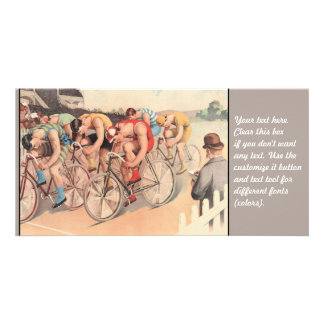 Vintage Litho Drawing Bicycle Race Personalized Photo Card