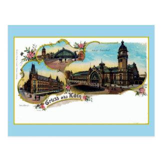 Vintage Litho Gruess aus Köeln old Postcard