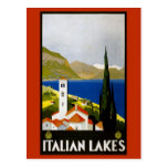 Vintage Litho Travel Ad Italian Lakes Post Card