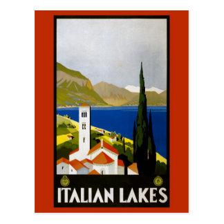 Vintage Litho Travel Ad Italian Lakes Postcard