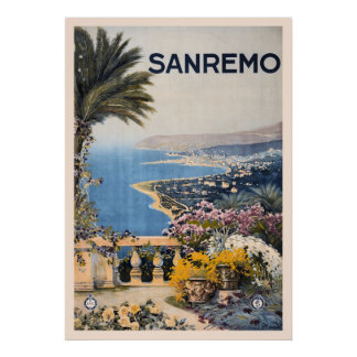 Vintage Litho Travel ad Sanremo Italy Poster