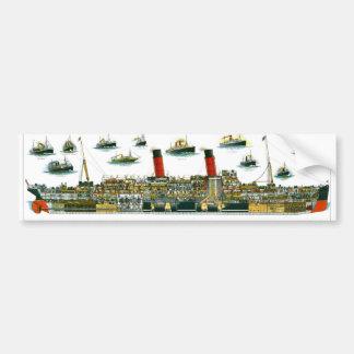 Vintage Lithograph British Ocean Liner RMS Caronia Bumper Sticker