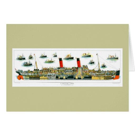 Vintage Lithograph British Ocean Liner RMS Caronia Card