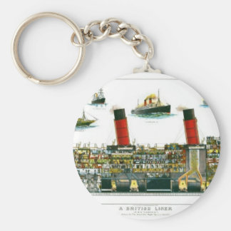 Vintage Lithograph British Ocean Liner RMS Caronia Keychain