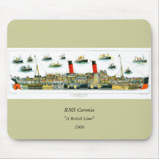 Vintage Lithograph British Ocean Liner RMS Caronia Mouse Pad